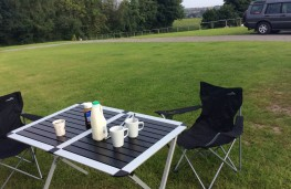 Swift Fiat Ducato motorhome, outdoor table