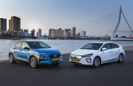 Hyundai Kona Hybrid and Ioniq Electric, 2019, pair
