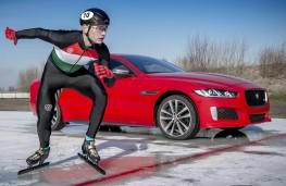 Jaguar's XE 300 Sport and speed skater