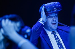 James Corden takes a VR test drive