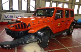 Jeep Wrangler after Frontal Offset Impact test