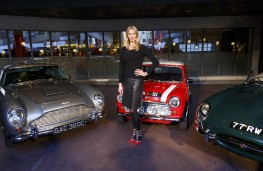 Jodie Kidd with classic cars