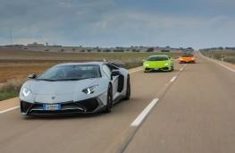 Lamborghini Miura celebration convoy, Huracan and Aventador