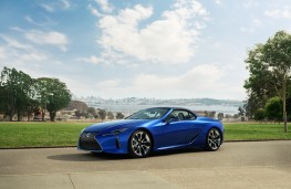 Lexus LC 500 Convertible, 2019, side, roof up