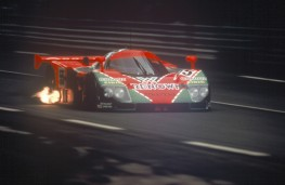 Mazda 787B, 1991, Le Mans, front, race, flame