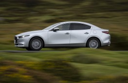 Mazda3 SkyActiv-X saloon, 2019, side, action