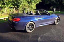 BMW M4 Convertible, side, roof open