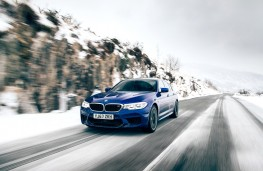 BMW M5, 2018, front, action, snow