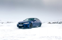 BMW M5, 2018, front, static, snow