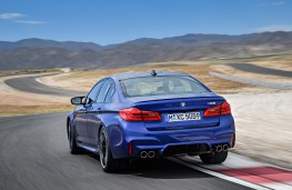 BMW M5, 2017, rear, action