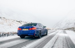 BMW M5, 2018, rear, action, snow