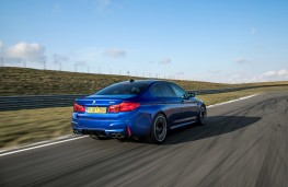 BMW M5, 2018, rear, track, action