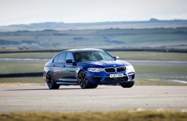 BMW M5, 2018, side, track, action