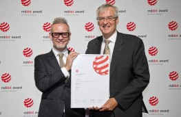 Kevin Rice, Mazda Europe design director and Jerome de Haan,Mazda Europe PR director, with Red Dot Award 2017