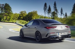 Mercedes-AMG CLA 45 rear threequarters action