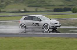 Michelin tyre testing, skid pan, VW Golf, side