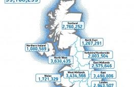 SMMT vehicle use data, 2019, UK map