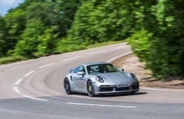 Porsche 911 Turbo S, 2021, front, action