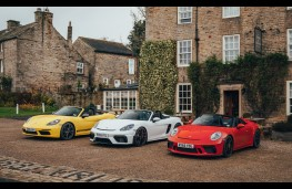 Porsche roadsters, from left, Boxster T, 718 Spyder and 911 Speedster