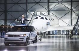Range Rover tows Virgin Galactic SpaceShipTwo with Sir Richard Branson