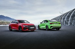 Audi RS 3 and RS 3 Saloon, 2021, front and rear