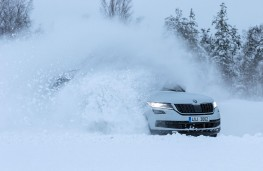 Skoda ice driving, front, action