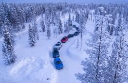 Skoda ice driving, Lapland, convoy