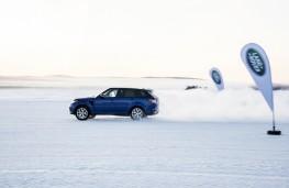 Range Rover Sport SVR, sprint test, snow, banners