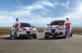 Alfa Romeo Stelvio Quadrifoglio Alfa Romeo Racing, 2019, with Antonio Giovinazzi and Kimi Raikkonen (right)