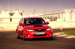 Subaru WRX STI, track, action, front