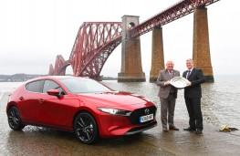 Mazda3 Scottish Car of the Year 2019, John Murdoch, president of ASMW and Graeme Fudge, PR director Mazda UK