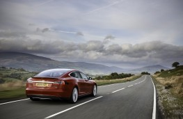 Tesla Model S P85D, rear, action