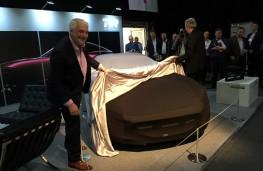 London Motor Show, 2016, TVR reveal tease, Les Edgar, left, Gordon Murray