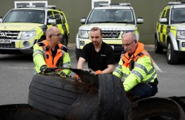 Highways England officers Mark Hindhaugh (left) and Mark Ratkovich with Bridgestone's field engineer Peter Moulding
