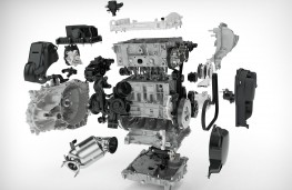 Exploded view of Volvo's new 3-cylinder petrol engine