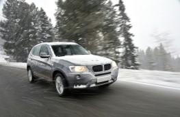 BMW X3, snow, front