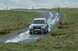 Volvo XC90, grey, front, action