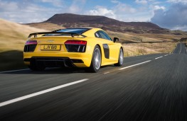 Audi R8, yellow, rear, action