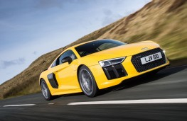 Audi R8, yellow, side, action