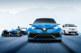 Renault ZOE e-sport concept with Formula E car and ZOE hatch