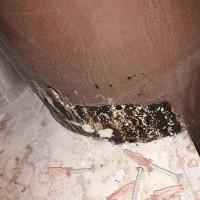 Insinööritoimisto K. Parila Oy - asbestia pilarin juuressa olevassa tahmeassa mustassa liimassa tai massassa asbestia.jpg