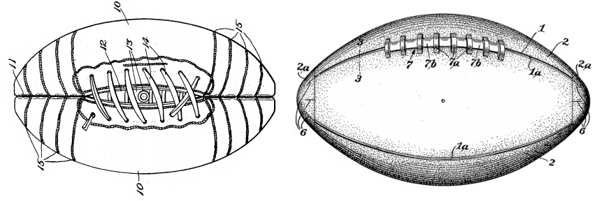 Evolution of the football: to the left an illustration from a 1925 patent, to the right from a 1939 patent.