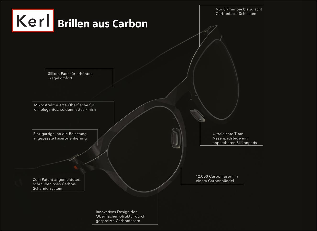 Kerl-Brillen: abslout puristisch! absolut minimalistisch! maximal leicht! 100% Carbon