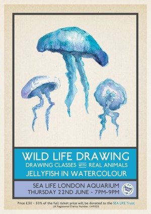 Wild Life Drawing: Jellyfish in Watercolour