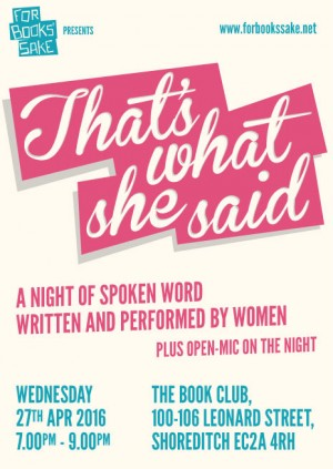 For Books' Sake presents 'That's What She Said'