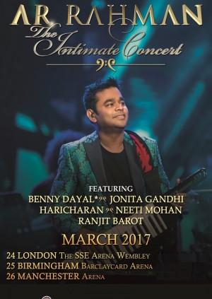 A.R. Rahman with Benny Dayal, Neeti Mohan, Jonita Gandhi, Haricharan - London