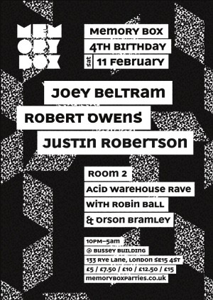 Memory Box 4th Birthday - Joey Beltram & Robert Owens + Acid Warehouse Rave