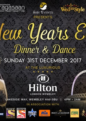 New Years Eve 2017 – Dinner and Dance – Hilton Wembley Hotel