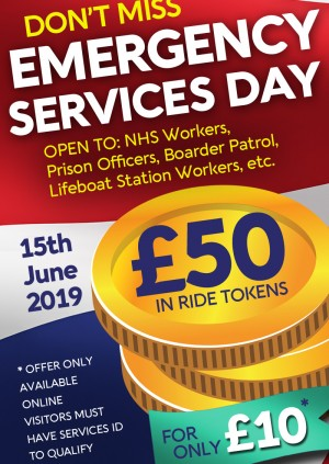 Emergency Service Event; Buy £10 and get an extra £40 of ride tokens FREE