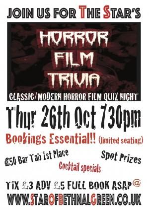 'Halloween Special' Horror Film Quiz @ Star of Bethnal Green